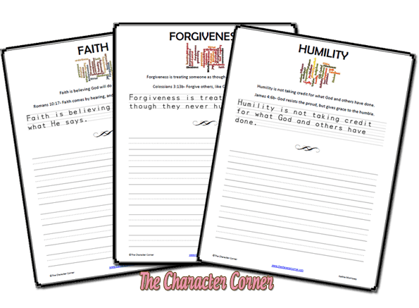 character traits copywork vol 1 the character corner
