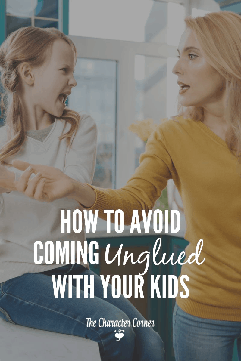 How to avoid coming unglued with your kids. Secrets to help you overcome the wrong responses, and keep the relationship with your children strong.