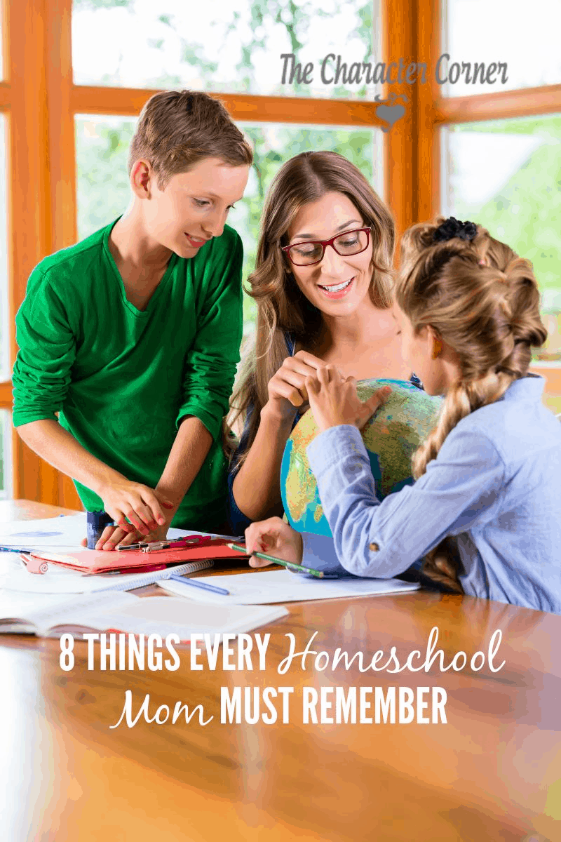 Mom and kids looking at globe. Text on image reads 8 Things Every Homeschool Mom Must Remember