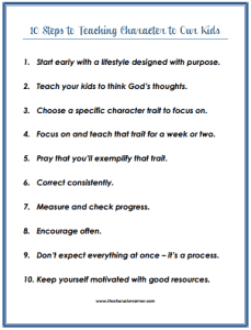 10 Steps to teaching kids character