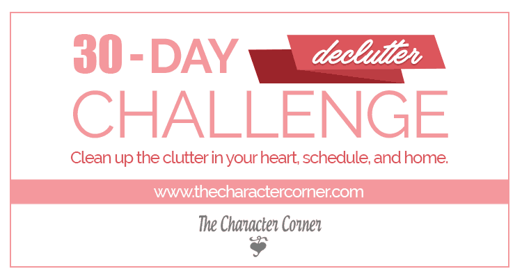 text on image reads: 30 Day Declutter Challenge