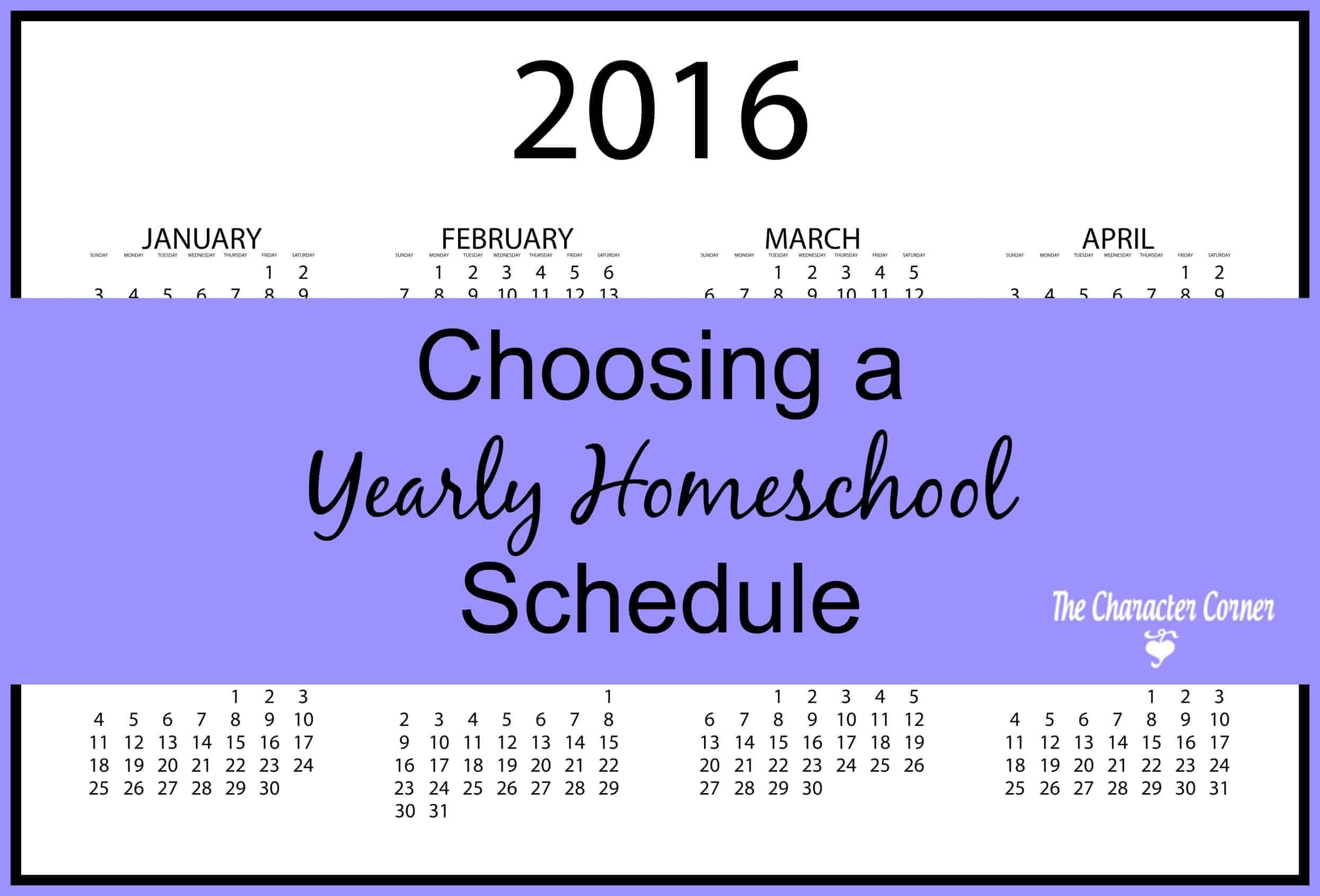 Choosing a yearly homeschool schedule