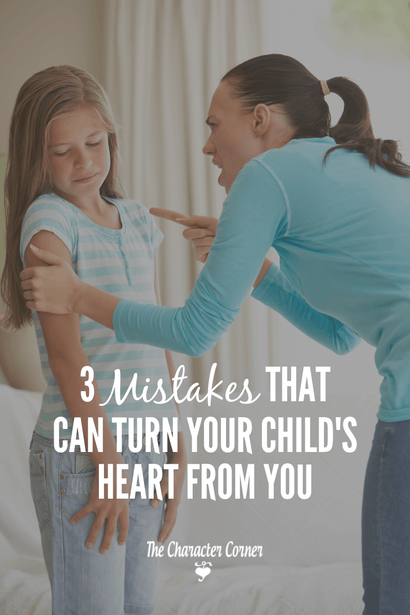 Angry Mom pointing finger at child. Learning 3 mistakes that can turn your child's heart from you.