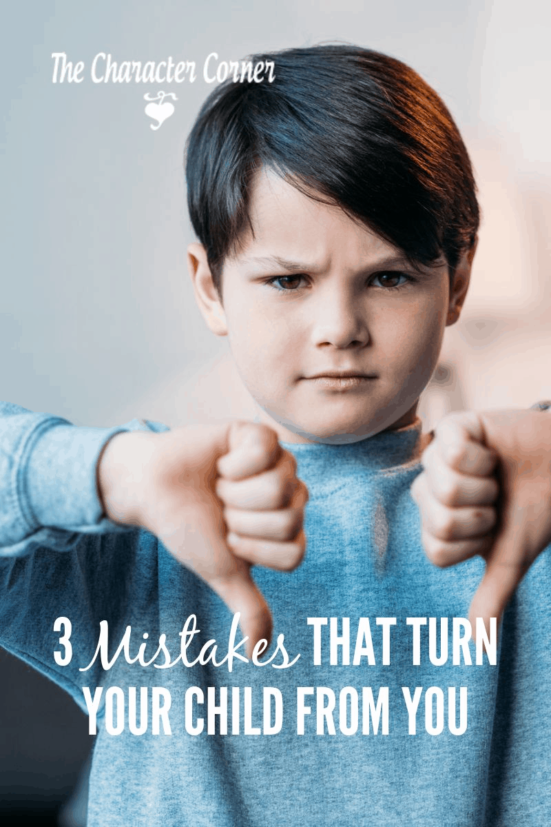 Little boy thumbs down and a frown. Learn 3 mistakes that can turn your child from you.