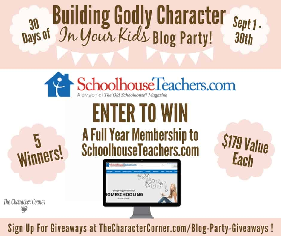 1 The Old Schoolhouse Giveaway Building Godly Character Blog Party Image