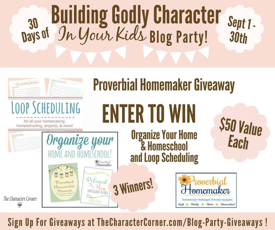 Proverbial Homemaker Giveaway Building Godly Character Blog Party Image
