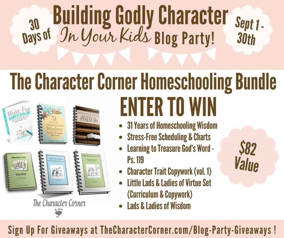 Homeschooling Bundle Giveaway Building Godly Character Blog Party Image
