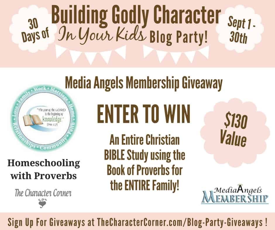 Media Angels Giveaway Building Godly Character Blog Party Image