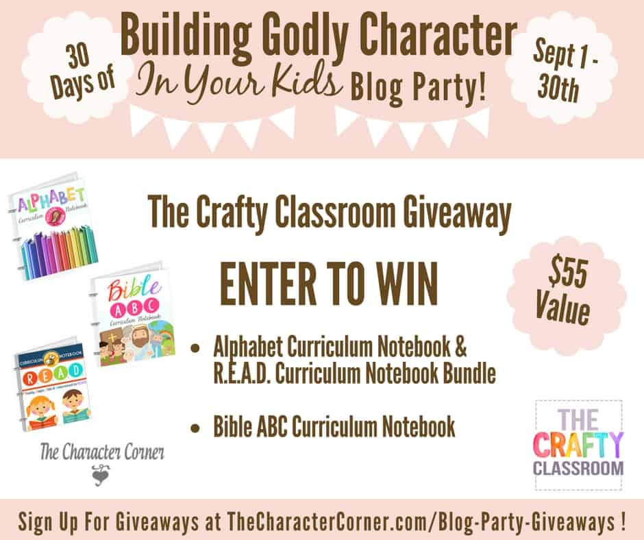 The Crafty Classroom Giveaway Building Godly Character Blog Party Image