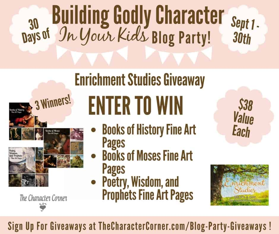 Enrichment Studies Giveaway Building Godly Character Blog Party Image