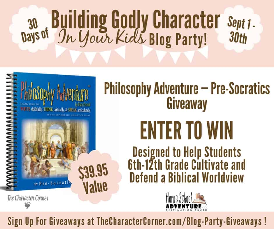 Philosophy Adventure Giveaway Building Godly Character Blog Party Image
