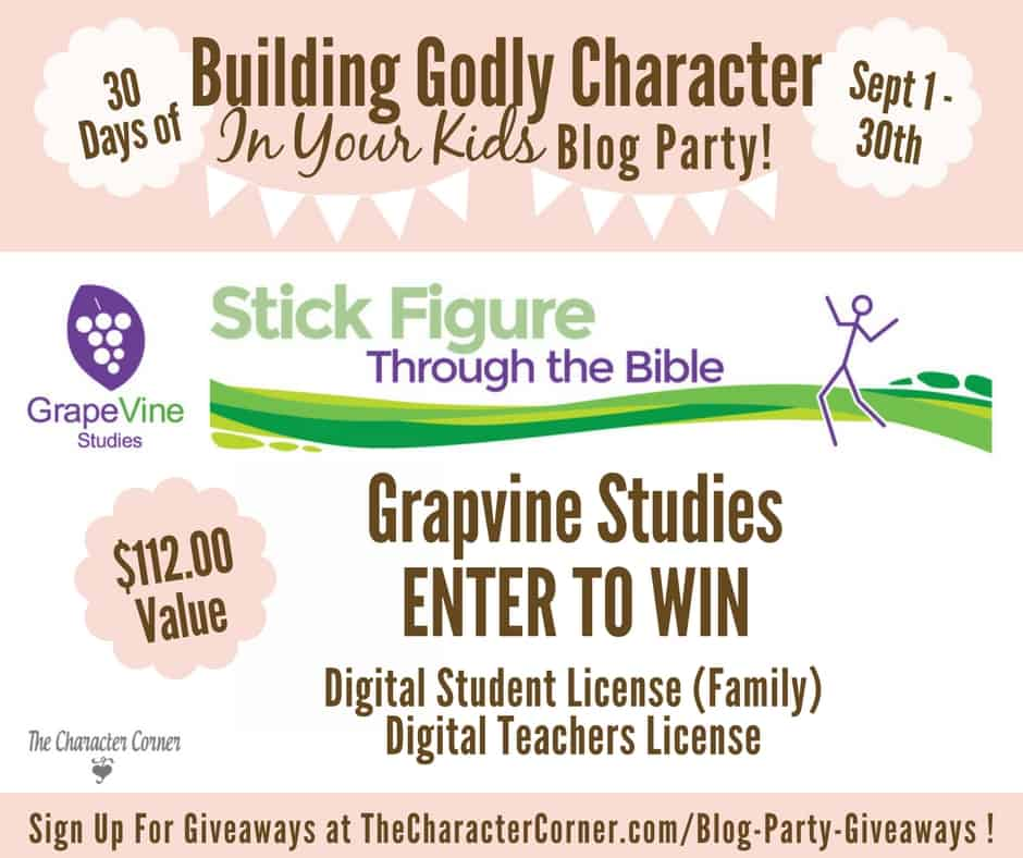 Grapvine Studies Giveaway Character Blog Party