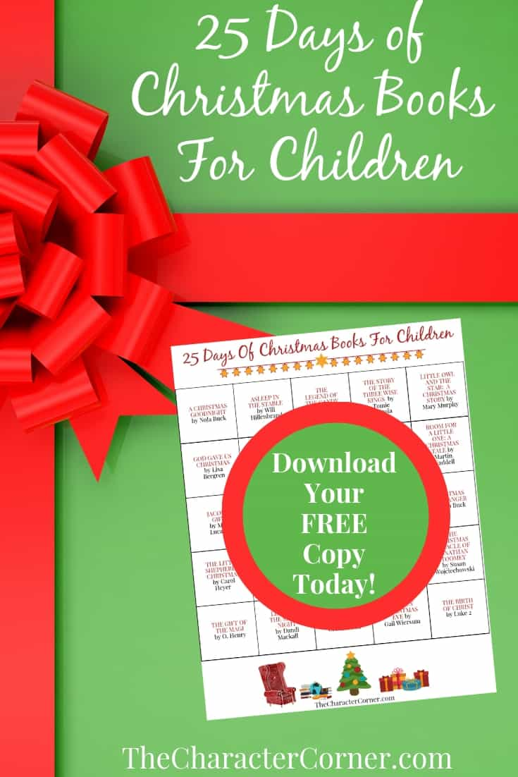 Download the FREE Printable 25 Days of Christmas Books For Kids on The Character Corner