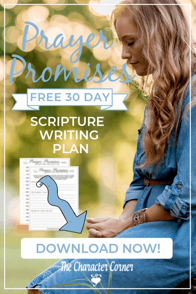 Download Your FREE Prayer Promises 30 Day Scripture Writing Plan from The Character Corner