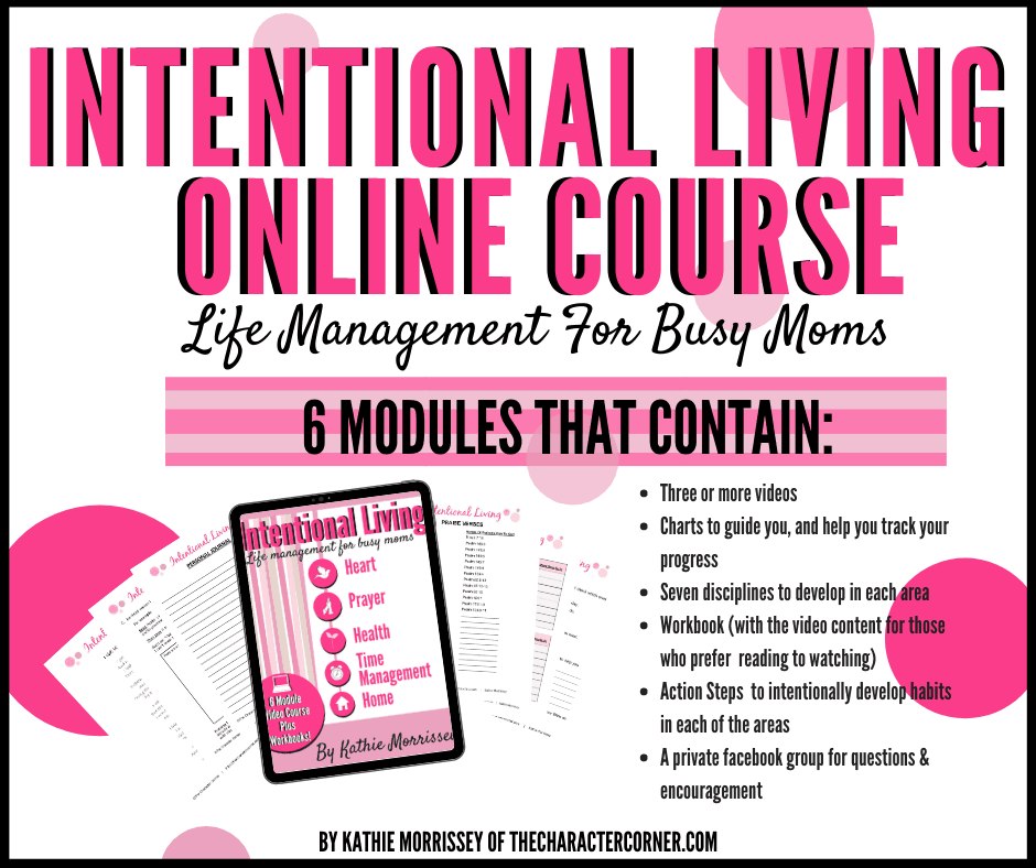 Text on image reads: Intentional living online course life management for busy moms