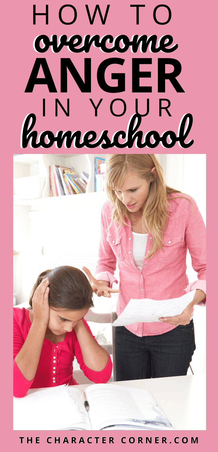 Angry mom with daughter who has open books. How to Overcome Anger in Your Homeschool