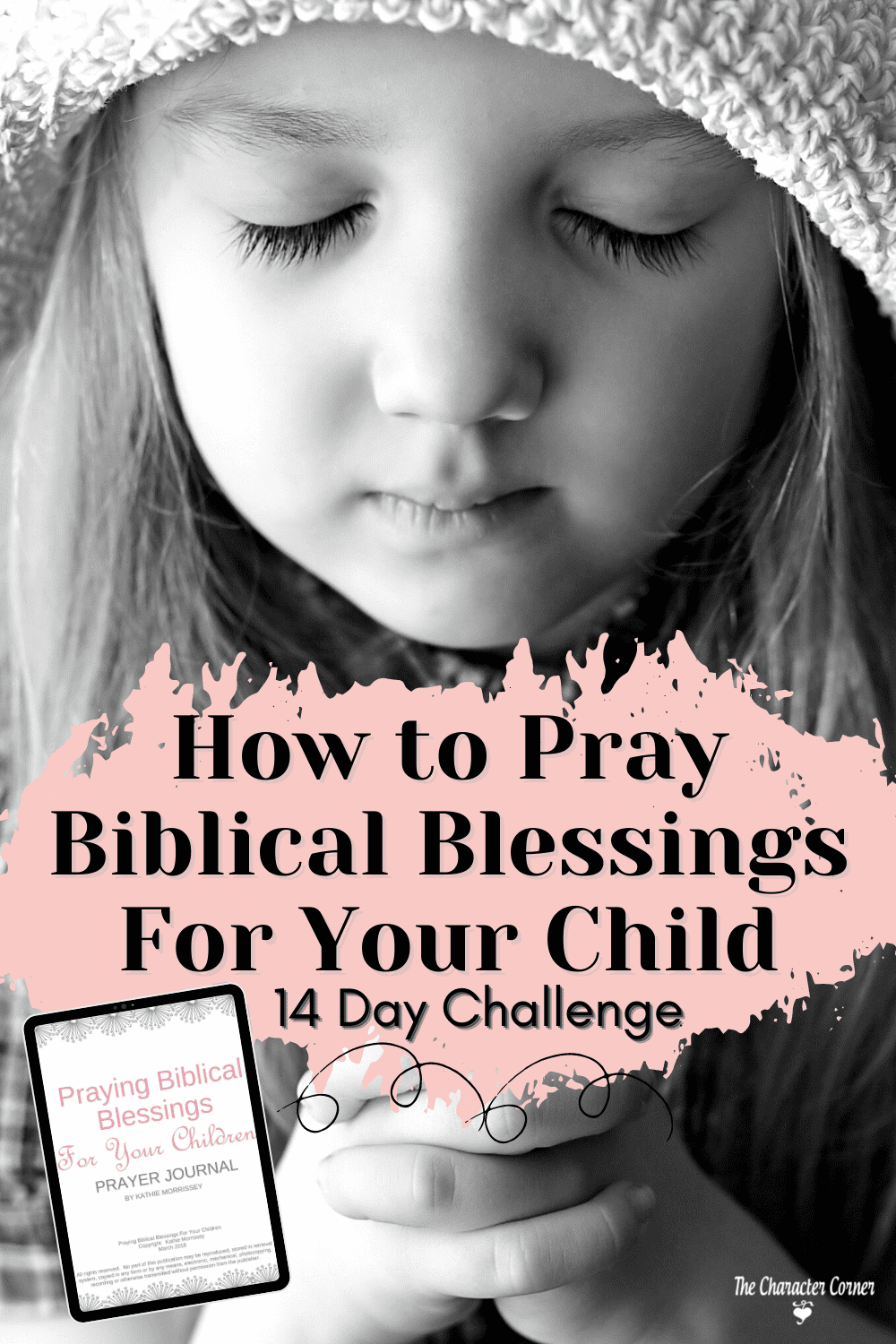 young girl praying biblical blessings black and white photo