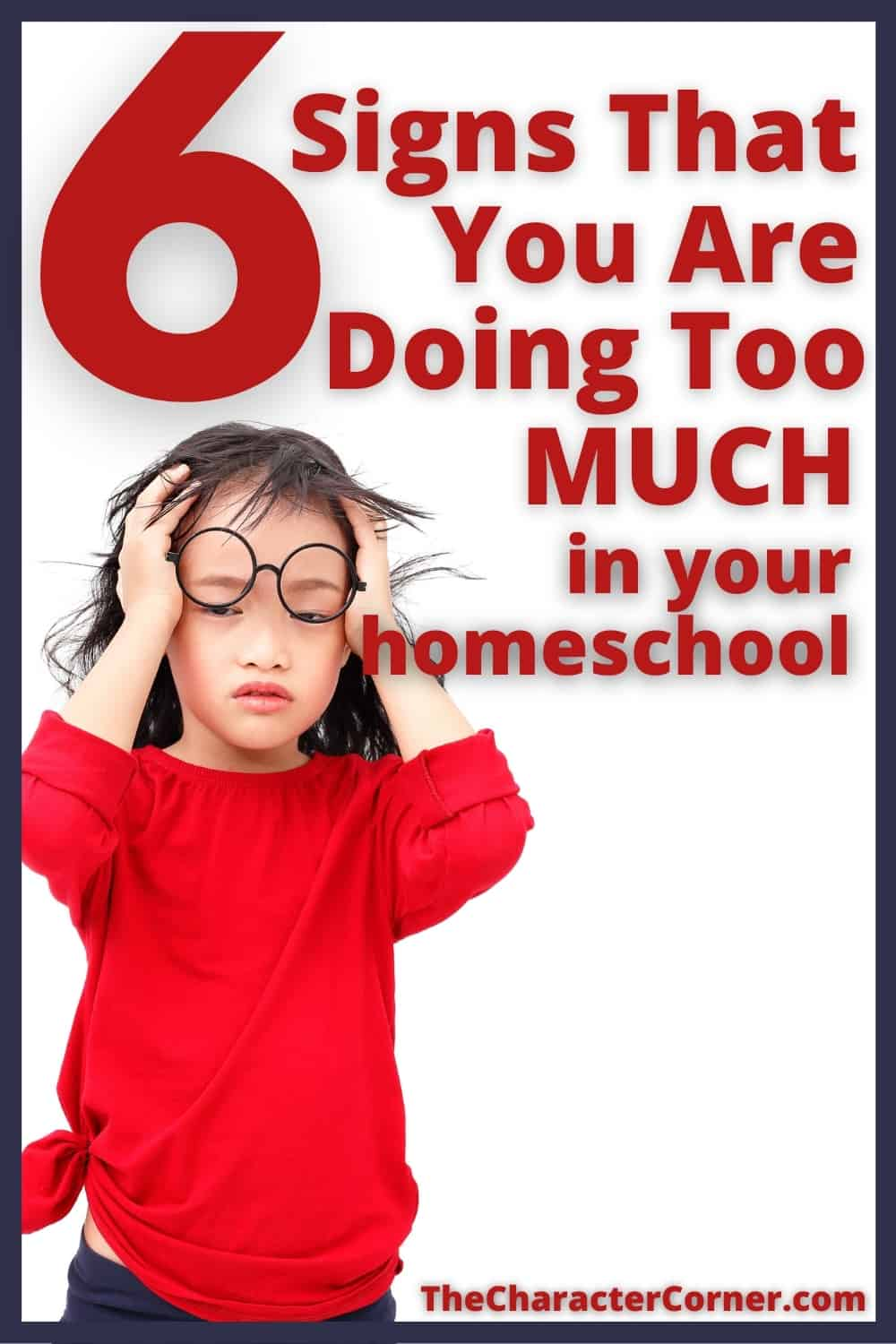 little girl stressed from doing too much in her homeschool